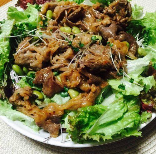 牛肉サラダに青大豆