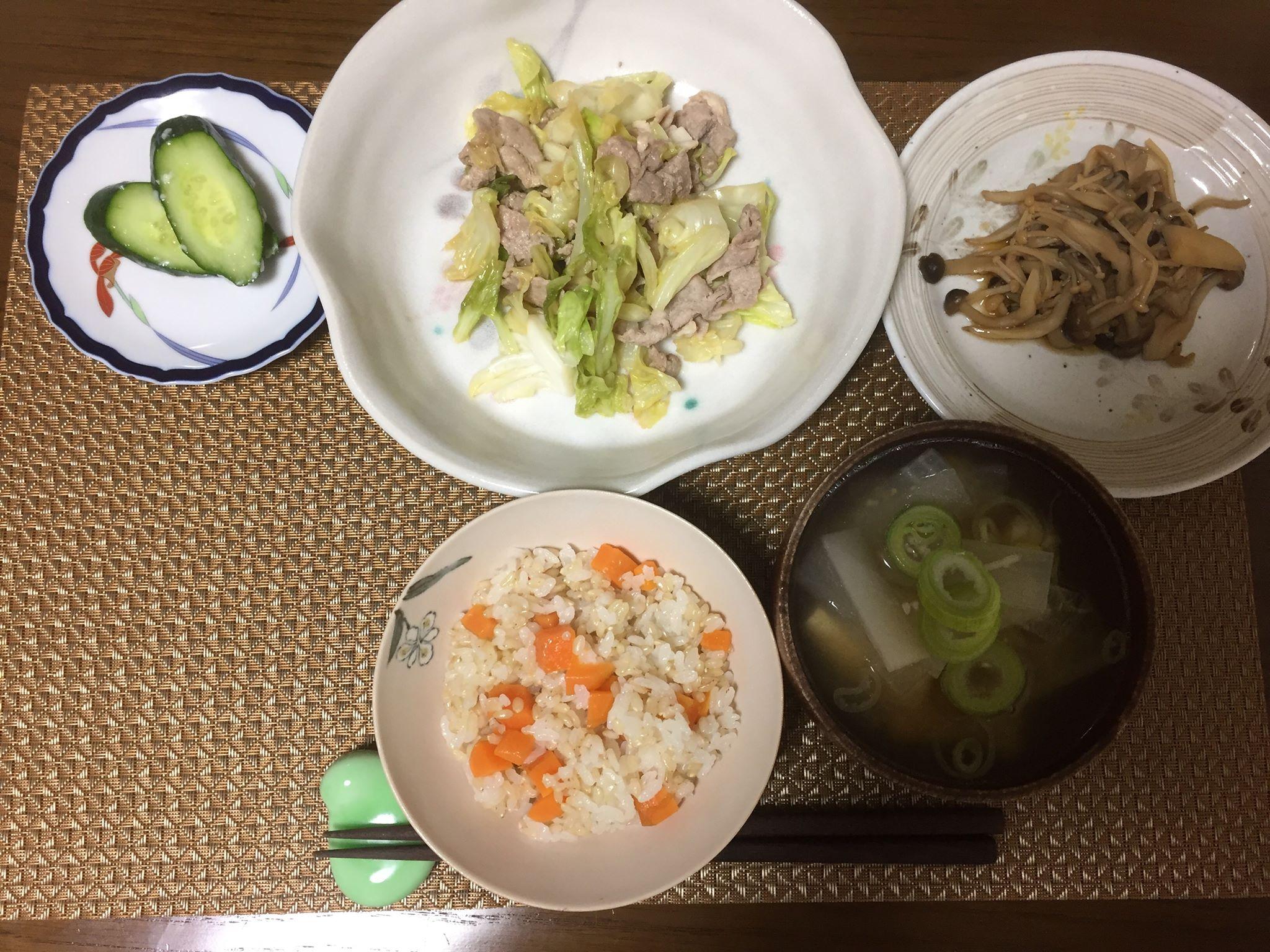 キャベツ・人参・きのこ No.2[3食材でくりまわし3日間!]