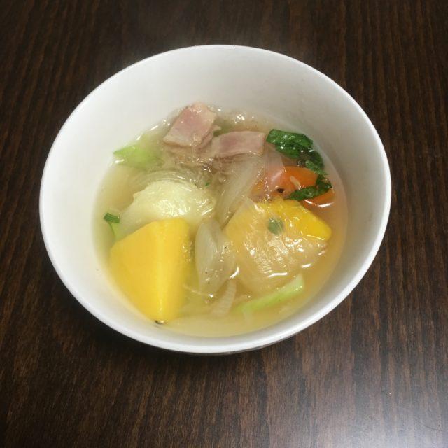 糸寒天を使った繊維が多いスープ