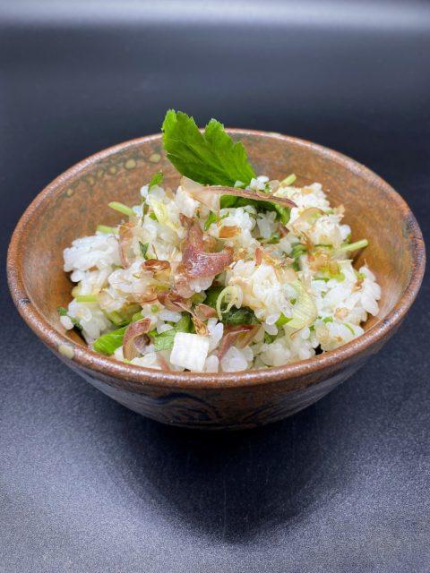香味野菜と長芋の混ぜご飯