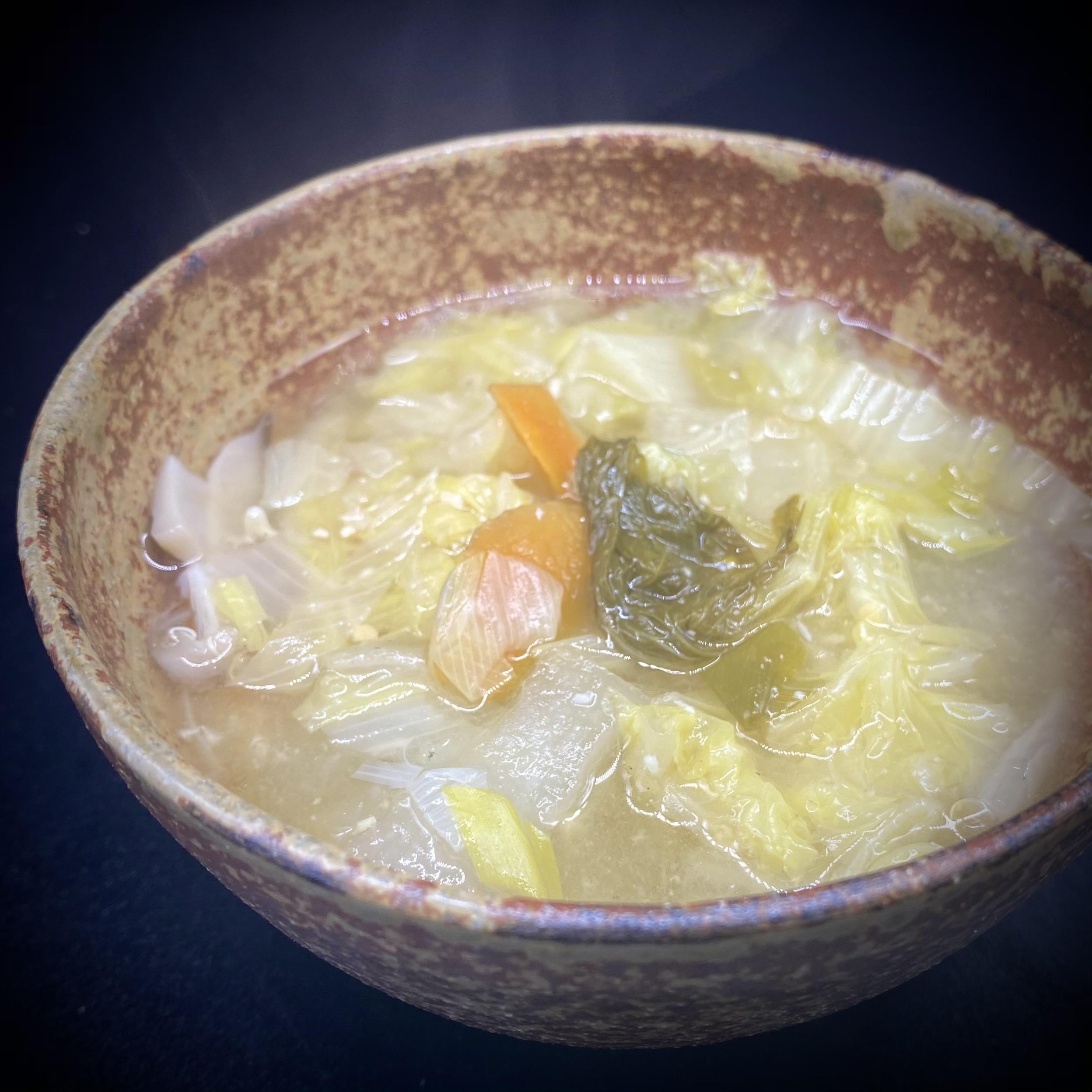 重ね煮のキヌア入り味噌汁