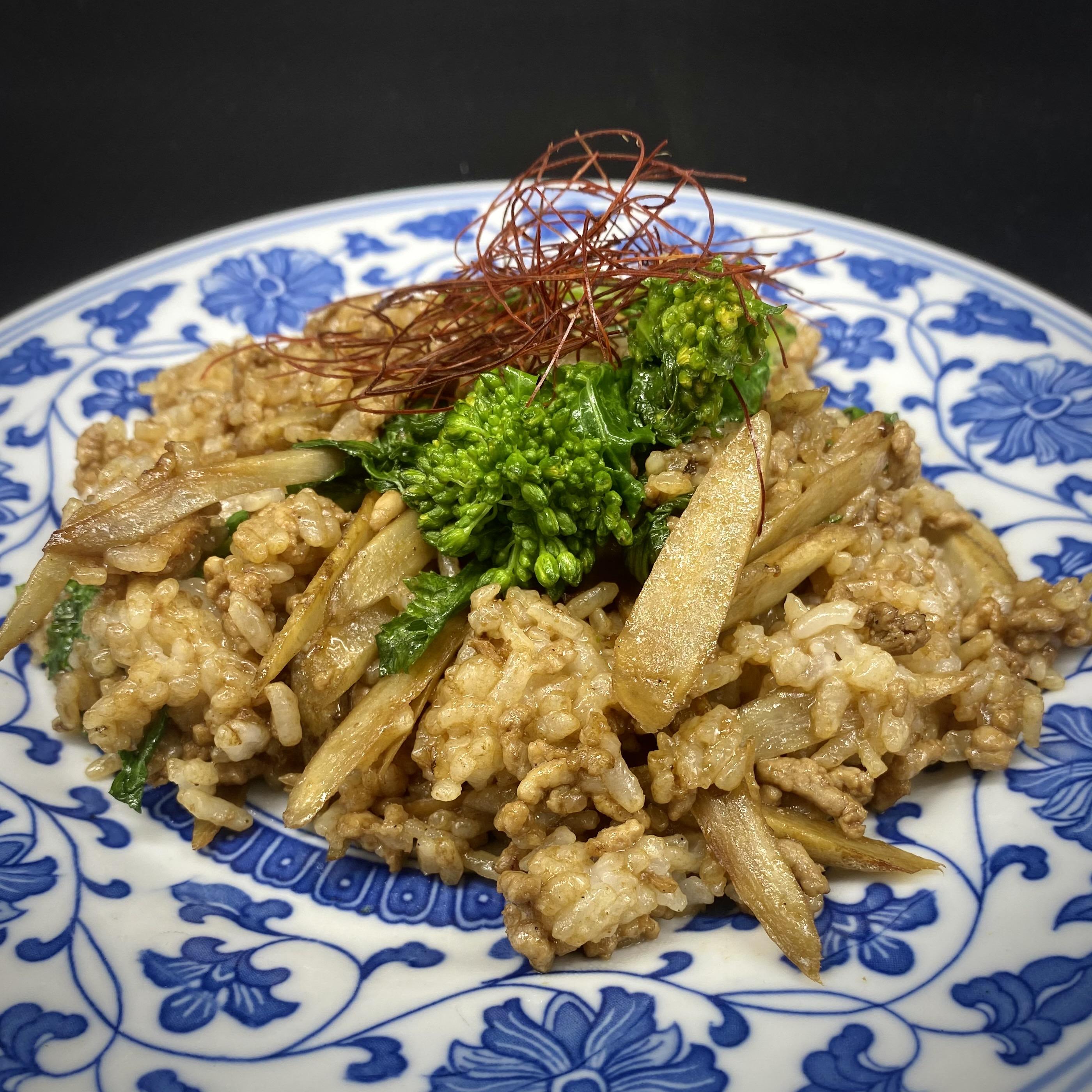 ごぼうと菜の花の味噌チャーハン